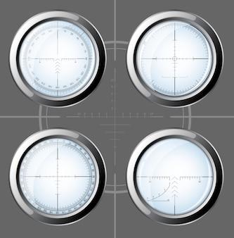 Set di ambiti da cecchino su sfondo grigio.