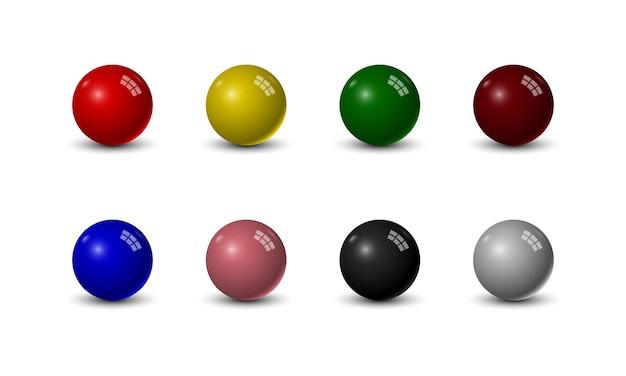 Set di palle da biliardo su sfondo bianco