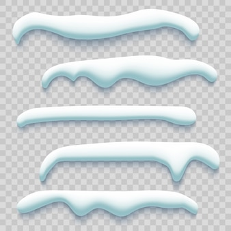 Set di cappucci da neve su sfondo trasparente