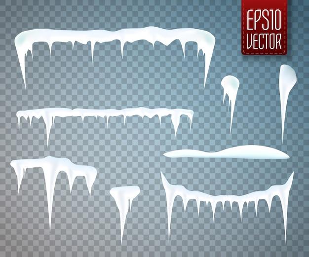 Set di ghiaccioli di neve isolato su sfondo trasparente. illustrazione vettoriale