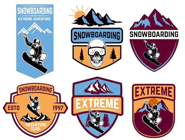 Set di emblemi snowboard. elemento per logo, etichetta, emblema, segno. illustrazione Vettore Premium