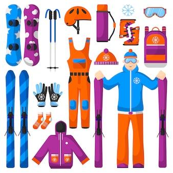 Set di icone di attrezzature snowboard
