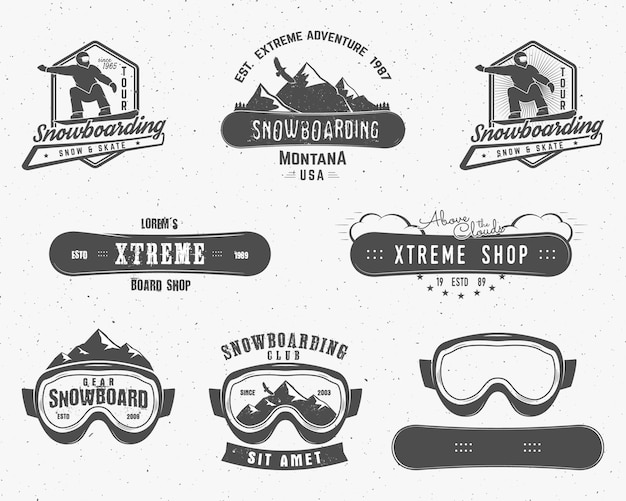 Set di modelli estremi di logo ed etichetta per lo snowboard. Vettore Premium