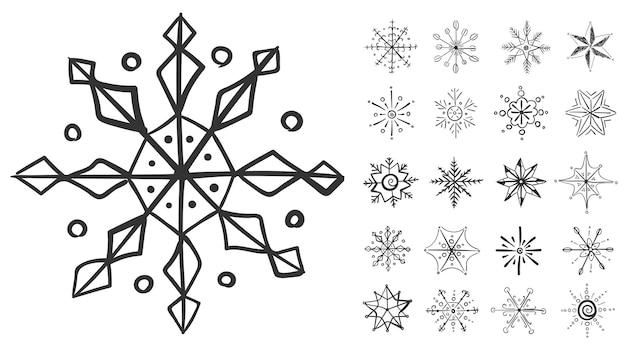 Set di fiocchi di neve in scarabocchio per il disegno invernale fiocco di neve disegnato a mano natale scarabocchio di natale