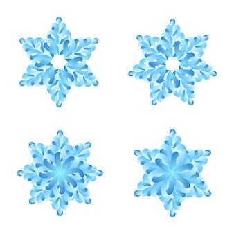 Set di origami di carta fiocchi di neve isolato su bianco