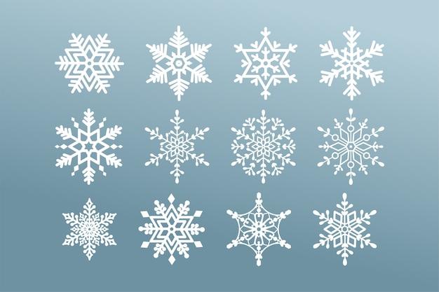 Set di fiocchi di neve. collezione fiocco di neve