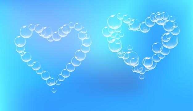 Set di pezzi di schiuma di sapone a forma di cuore vettore schiuma di sapone realistica simbolo del giorno di san valentino sfondo blu