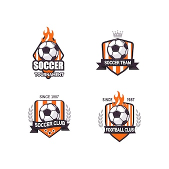 Set di disegni di logo di calcio calcio