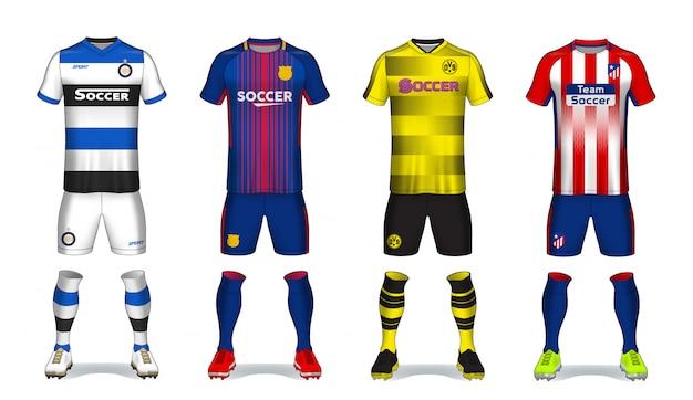 Set di kit da calcio, design t-shirt sportiva.