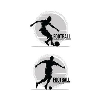 Set di modelli di progettazione del logo del giocatore di calcio