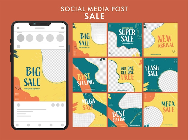 Set di social media carosello post vendita con illustrazione di smartphone su sfondo marrone.