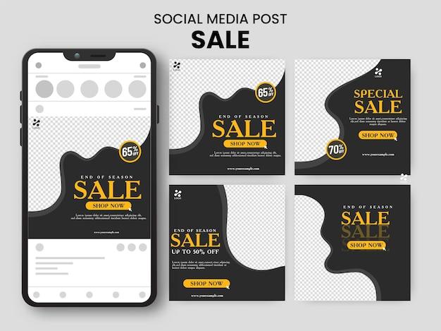 Set di social media carosello post vendita con illustrazione di smartphone su sfondo grigio.