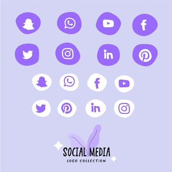 Set di icone social media, logo in forme arrotondate astratte. icone piatte.
