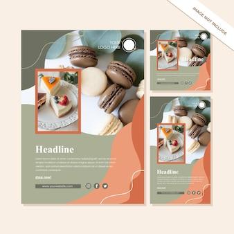 Set di modelli di progettazione di kit di social media su colore verde e arancione