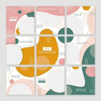 Set di modelli di post di feed di puzzle di social media