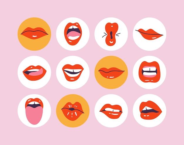 Imposta i momenti salienti della storia dei social media. diverse labbra o bocche con varie mimiche, emozioni, espressioni.