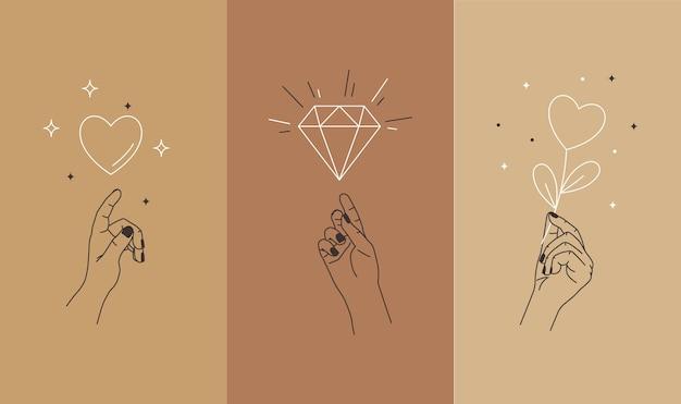 Set di modello di storia di social media semplice stile lineare. linea mani e segni d'amore.