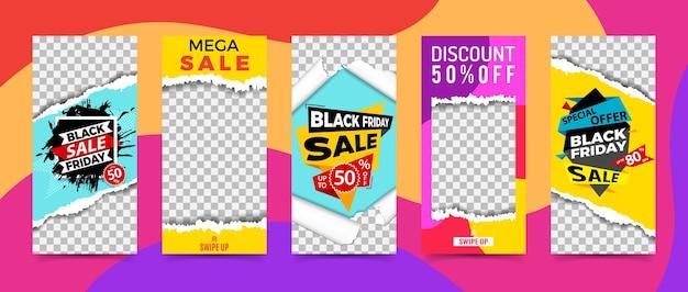 Imposta storie sui social network. cornici trasparenti con trama di carta strappata. vendita banner modello venerdì nero. promozione del marchio del negozio.