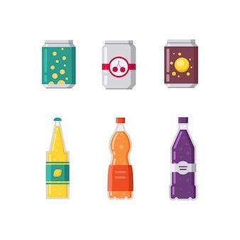 Set di bevande gassate e succhi di frutta nell'illustrazione di imballaggi in plastica e alluminio.