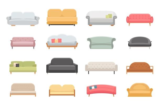 Set di mobili divano e divani isolato su bianco