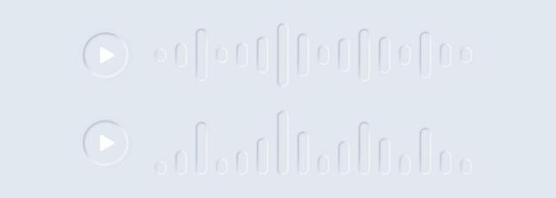 Imposta l'icona del suono o dell'onda audio. messaggio audio vocale. chat vocale. messaggio sms. onde di discorso in messenger. corrispondenza di messaggistica vocale .. ui neumorphic ux. neumorfismo.