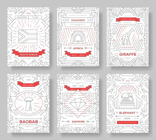 Set di ornamento paese sud africa. arte tradizionale, rivista, libro, astratto, banner, elemento.