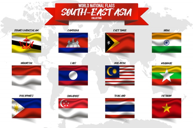 Insieme della bandiera nazionale del paese del sud-est asiatico sul fondo della mappa di mondo.