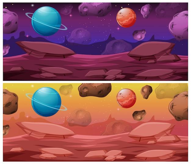 Set di sfondo spazio