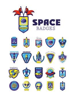 Set di badge spaziali