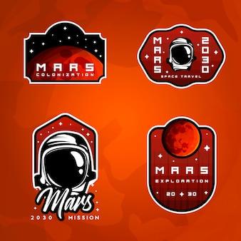 Set di badge di esplorazione dello spazio. collezione di adesivi flight to mars