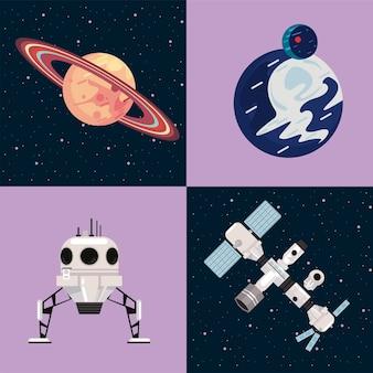 Metta l'illustrazione di vettore delle icone dello spazio
