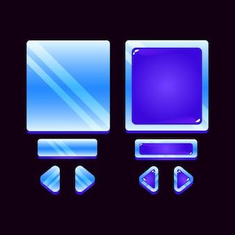 Set di scheda ui gioco gelatina spaziale pop-up per elementi di asset gui