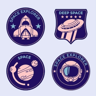 Set di badge per missioni spaziali