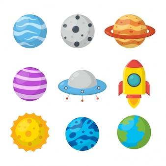 Set di spazio. pianeti in stile cartone animato. isolato