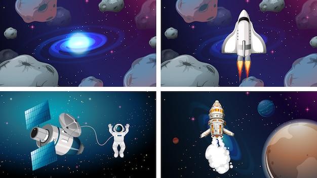 Set di scene di navi spaziali