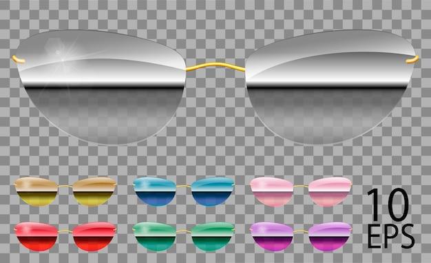 Set occhiali speculari. futuristico; forma stretta.trasparente colore diverso.viola rosso blu speculare rosa specchio dorato verde.occhiali da sole.3d graphics.unisex donna uomo.