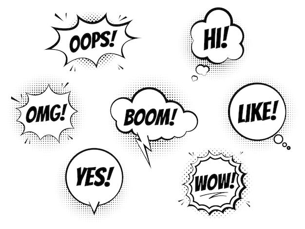Insieme di bolle di discorso per i fumetti su sfondo bianco, suono fresco di esplosione e shock, imitazione della trama di impronta di mezzitoni