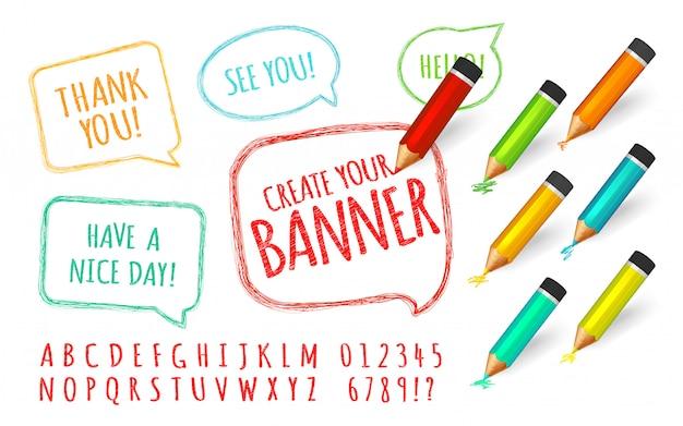 Set di bolle di discorso vernice con matite