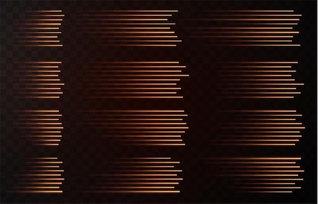 Set di linee di velocità isolare su sfondo trasparente raccolta di segni vettoriali traffico