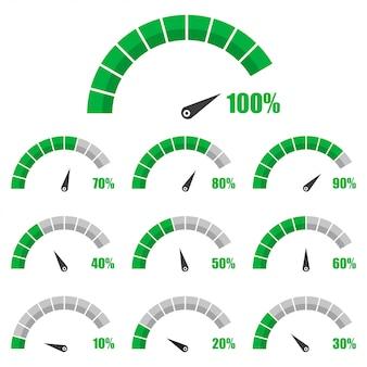 Set di tachimetro o misuratore di valutazione segni elemento calibro infografica con percentuale