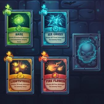 Imposta carte incantesimo di natura, ghiaccio, fuoco, luce. per giochi, interfaccia utente, design