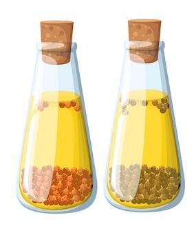 Set di vasetti di olio speziato di vari gusti peperoncino rosso aneto rosmarino chiodi di garofano pepe nero peperone rosso e olive. illustrazione