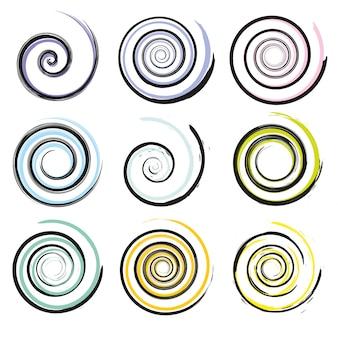 Insieme di elementi di movimento a spirale e vortice