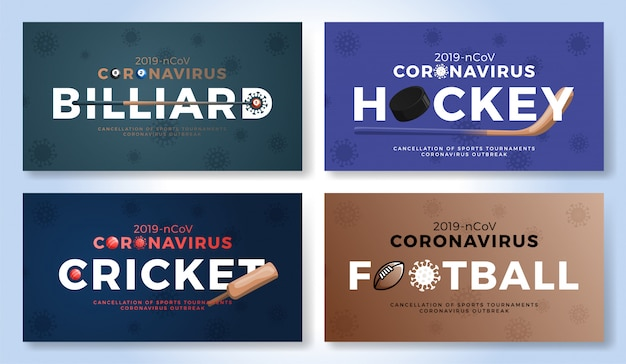 Set di sport banner cautela coronavirus. biliardo, hockey, cricket, football americano stop allo scoppio covid-19. annullamento di eventi sportivi e concetto di partite