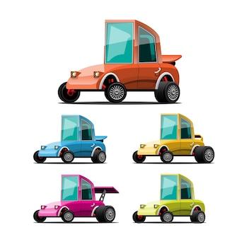 Set di auto sportive in stile cartone animato su bianco