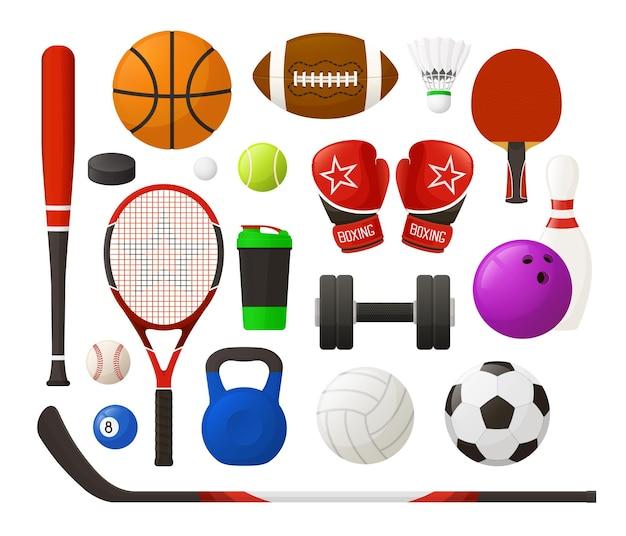 Set di attrezzature sportive dal design semplice illustrazione vettoriale collezione di inventario sportivo