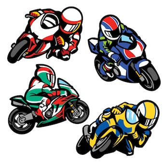 Set di sportbike in stile cartoon