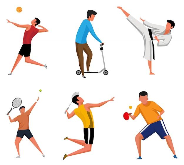 Set di illustrazioni di personaggi sportivi attività silhouette