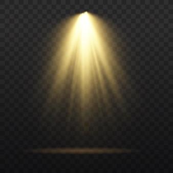 Set di riflettori isolato su sfondo trasparente. sorgenti luminose, luci da concerto, faretti da palcoscenico. effetto luce con raggi dorati. brillare modello di fascio proiettore teatro verticale per il design. vettore.