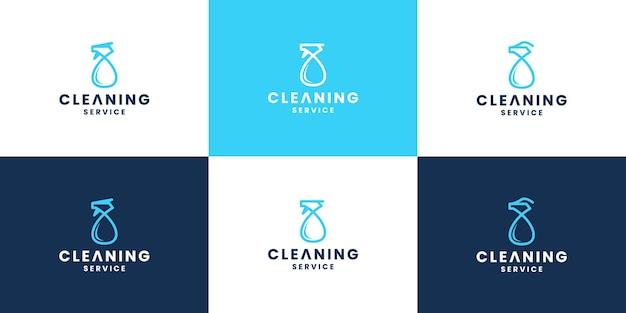 Set di design del logo detergente spray moderno per società di servizi di pulizia